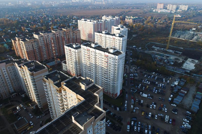 Aerial view of urban real estate. Beautiful landscape view from royalty free stock photography
