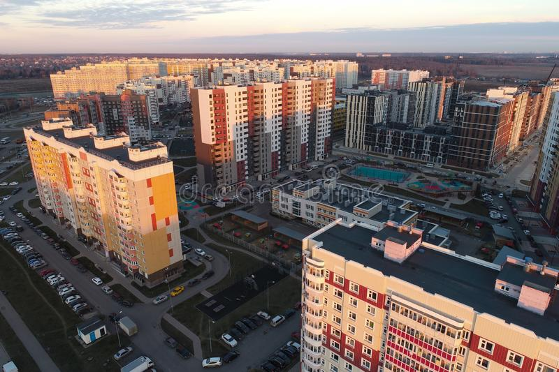 Aerial view of urban real estate in New Vatutinki district, Troitsk region, Russia. Beautiful landscape view from birds sight stock images