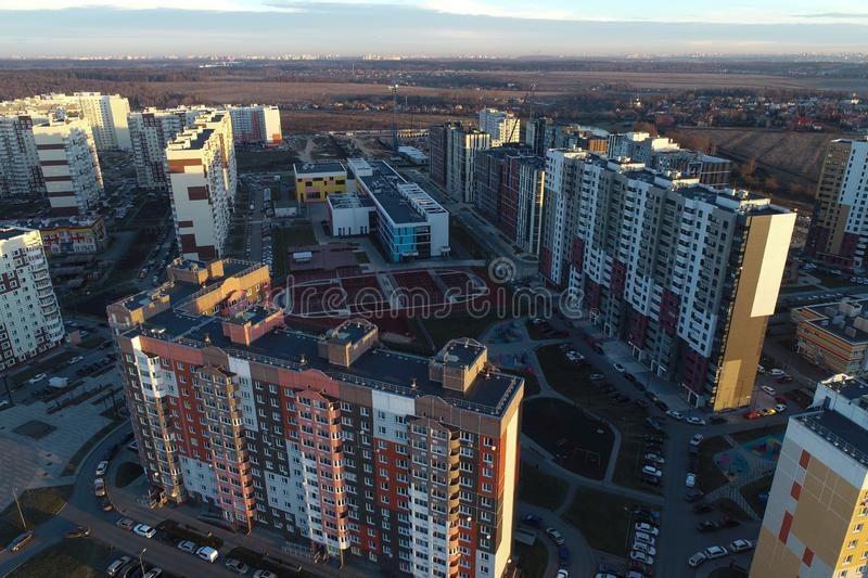 Aerial view of urban real estate in New Vatutinki district, Troitsk region, Russia royalty free stock photography