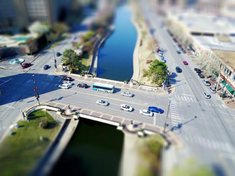 Aerial view of urban street royalty free stock photos