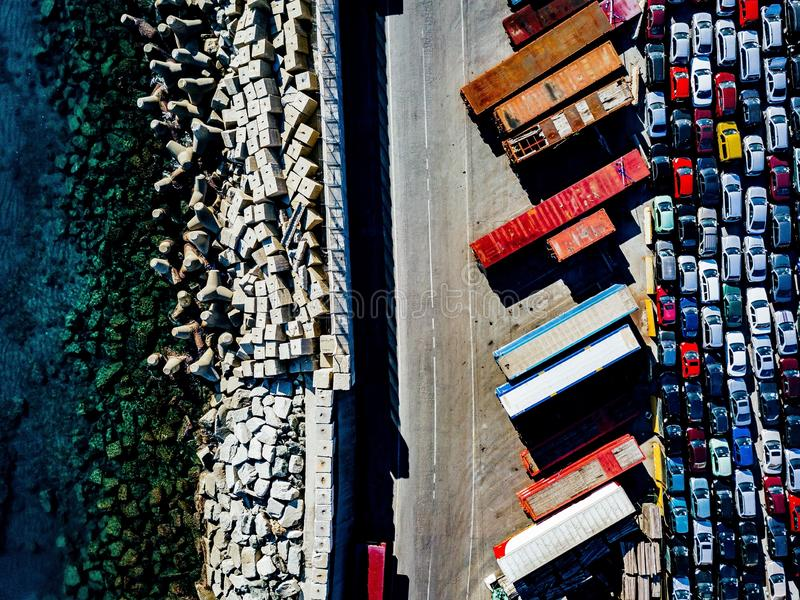 Aerial view of used cars lined up in the port royalty free stock images