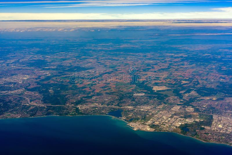 Aerial view of the Uxbridge area cityscape with Pickering Nuclear Generating Station. At Canada royalty free stock images
