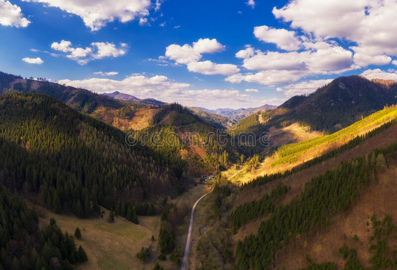 Aerial view of a valley in the Greater Fatra mountains in Slovakia stock image