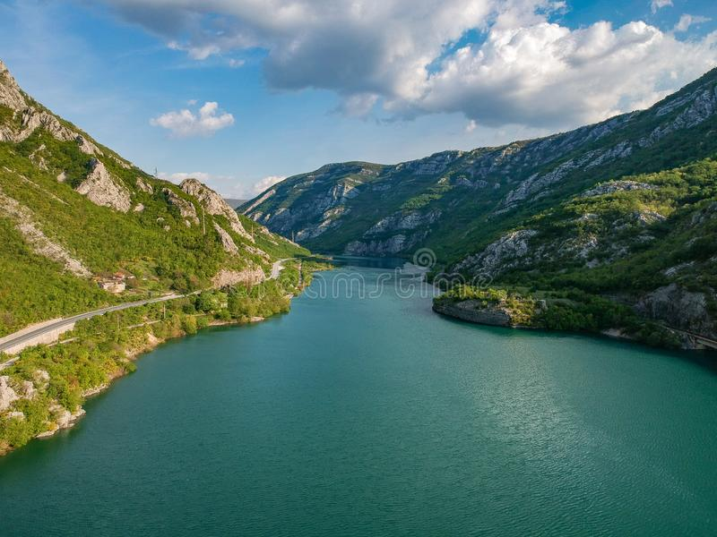 Aerial view of the valley of river Neretva in Bosnia and Herzeovina stock photo