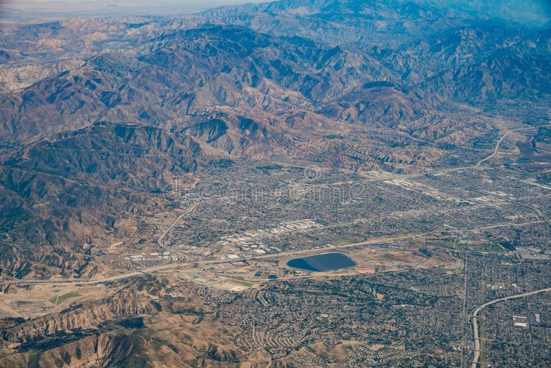 Aerial view of Van Nuys, Sherman Oaks, North Hollywood, Studio C. Ity on Airplane, Los Angeles County stock images