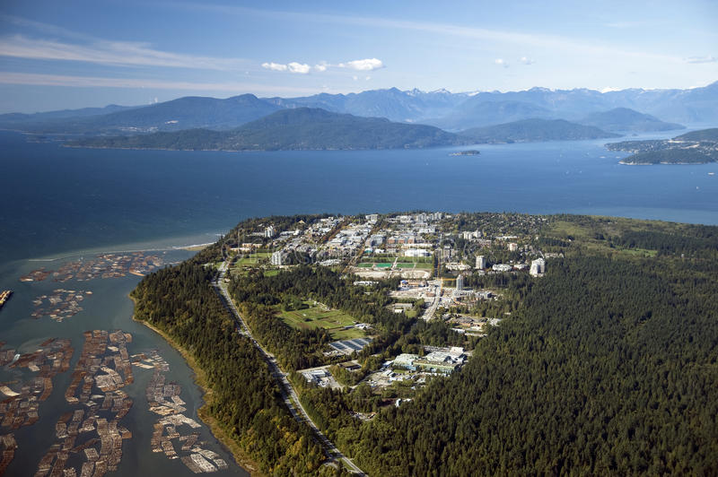 Aerial view of Vancouver, UBC and sea. Aerial view of Vancouver, UBC and Strait of Georgia royalty free stock photography