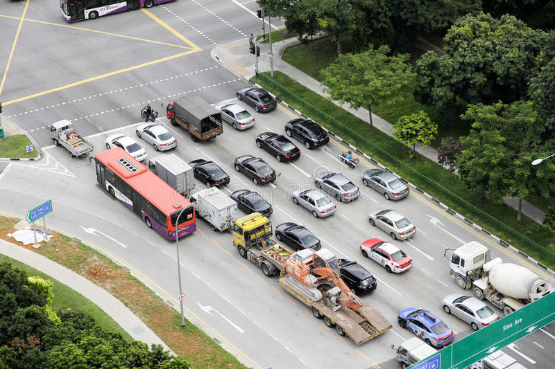 Aerial view of vehicles in traffic royalty free stock photography