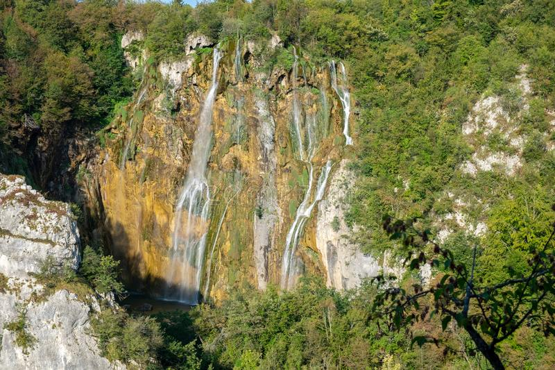 Aerial view on \'Veliki Slap\'. The highest waterfall in the Plitvice National Park stock photo