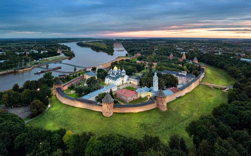 Aerial view of Veliky Novgorod kremlin at dusk. Russia royalty free stock photography