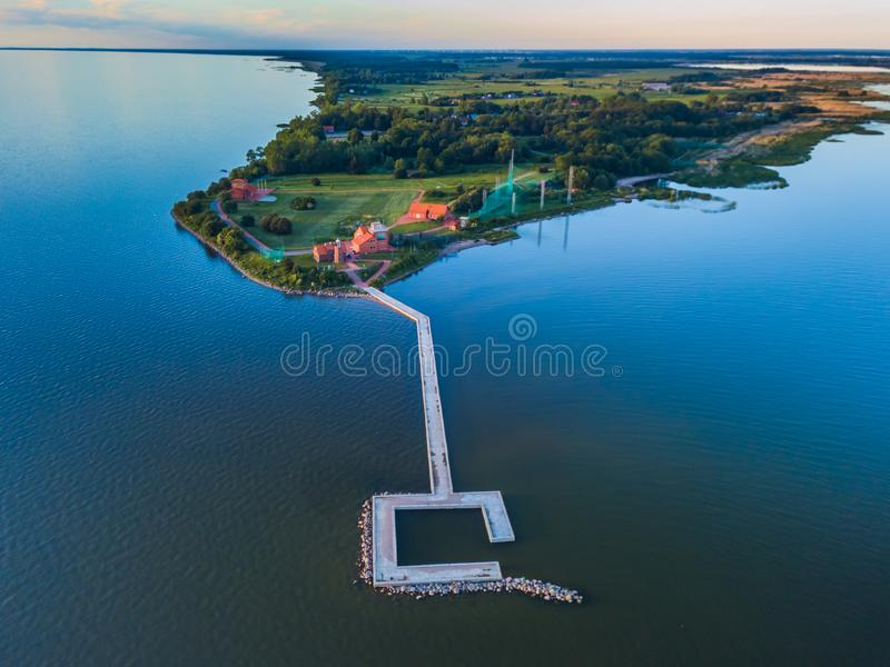 Aerial view of Vente Cape in Lithuania, bird ringing place stock photo