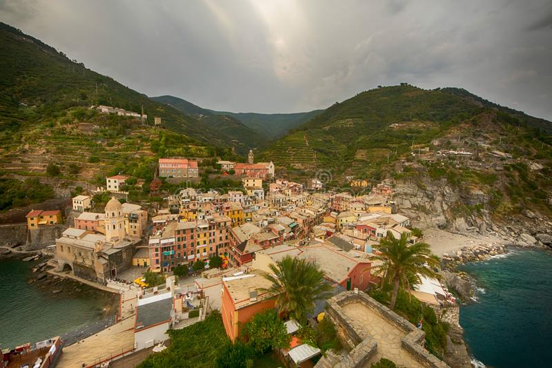 Aerial view of Vernazza, Italy royalty free stock photography