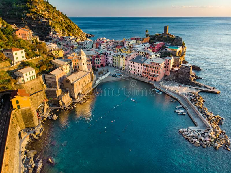 Aerial view of Vernazza, one of the five centuries-old villages of Cinque Terre, located on rugged northwest coast of Italian royalty free stock images