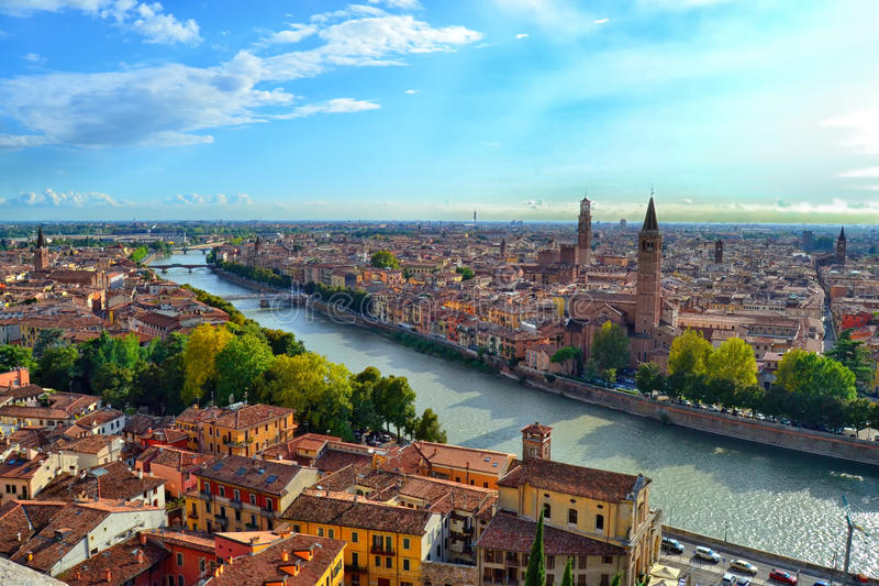 Magnificent Aerial View of Verona stock photo