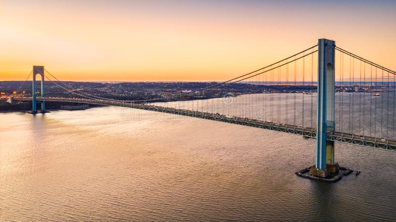 Aerial view of Verrazzano Narrows Bridge at sunset stock images