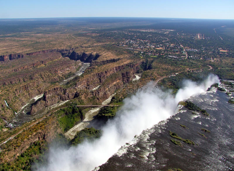Aerial view of Victoria Falls royalty free stock photos