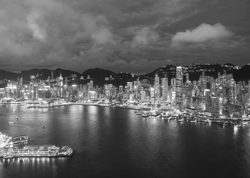 Aerial view of Victoria Harbor of Hong Kong city stock photography
