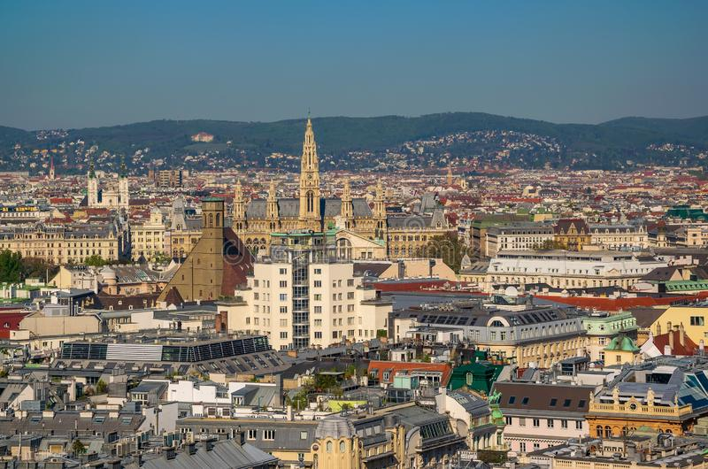 Aerial view of Vienna city center from Cathedral. Aerial view of city center of Vienna & x28;Innere Stadt& x29; with Friars Minor Conventual church & x28 royalty free stock photos