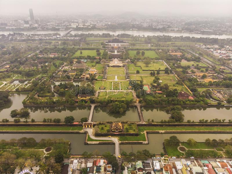 Aerial view of Vietnam ancient Tu Duc royal tomb and Gardens Of Tu Duc Emperor near Hue, Vietnam. Unesco World Heritage Site. Aerial view of Vietnam ancient Tu royalty free stock photo