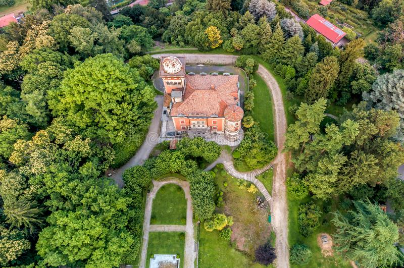 Aerial view of Villa Toeplitz of Varese in the summer, Italy royalty free stock photo
