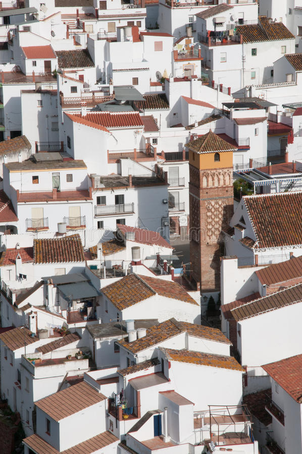 Aerial view of the village of Axarquia stock photo