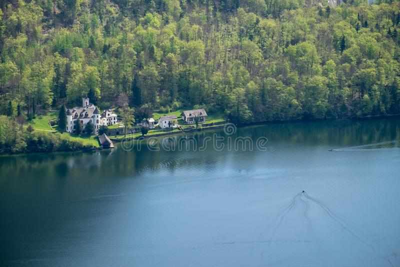 Aerial View village in hallstatt city background mountain Alps royalty free stock image