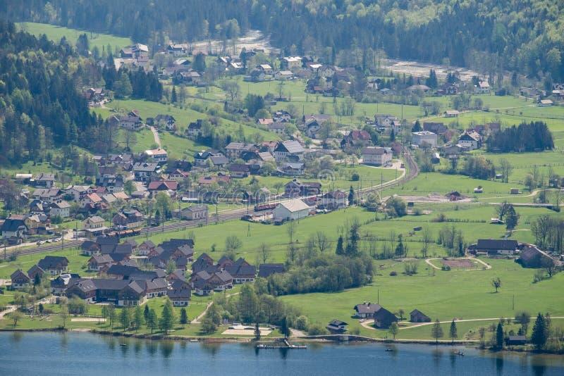 Aerial View village in hallstatt city royalty free stock image