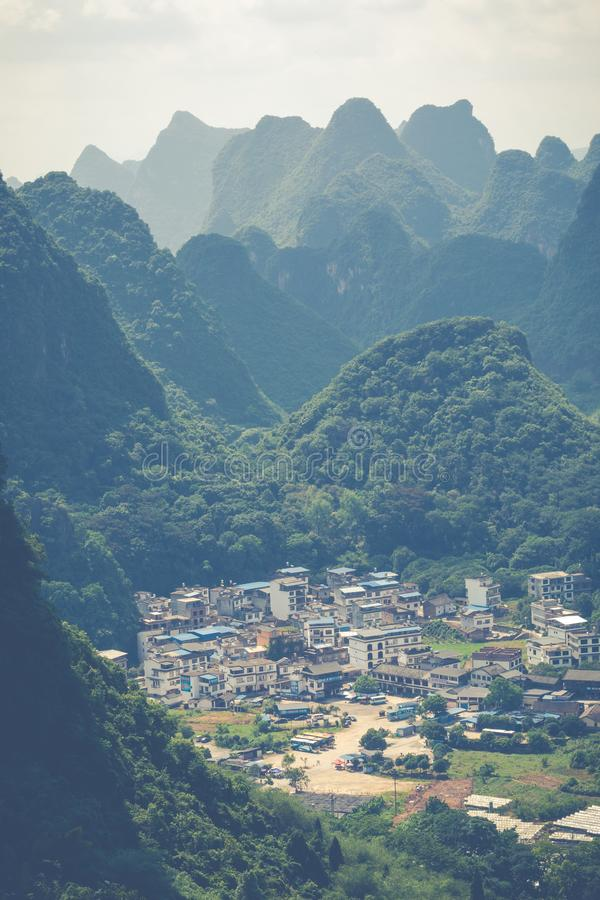 Aerial view of an village from Moon Hill mountain. Yangshuo, Chi royalty free stock images