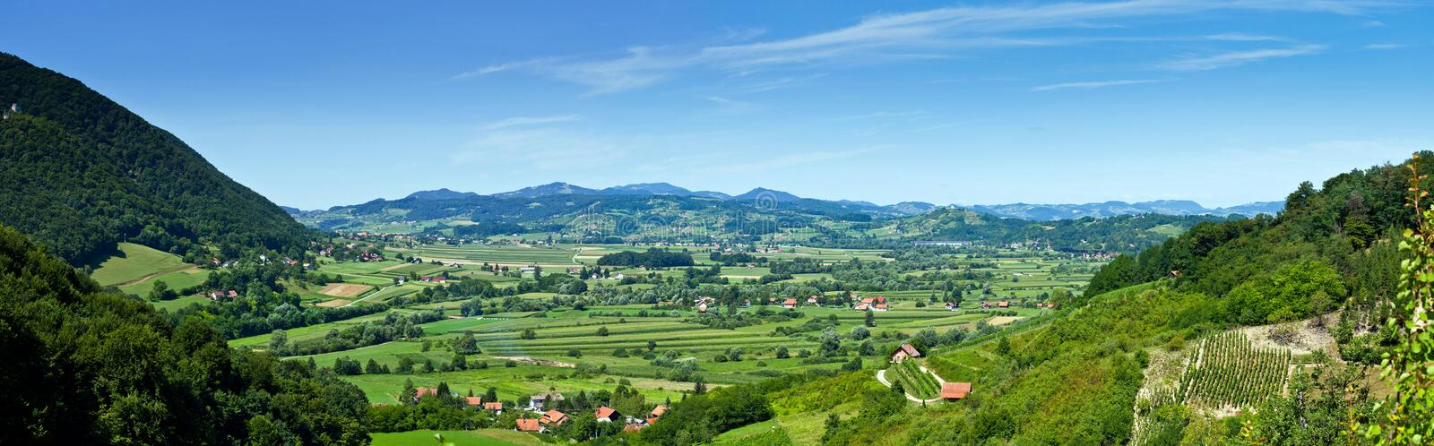 Aerial view of villages and nature stock photography