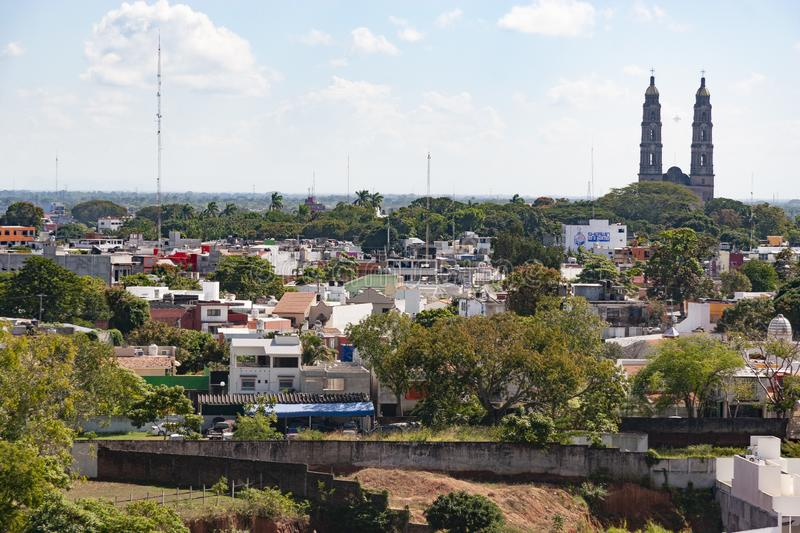 Aerial view of Villahermosa city Cathedral of the Lord of Tabasco royalty free stock images