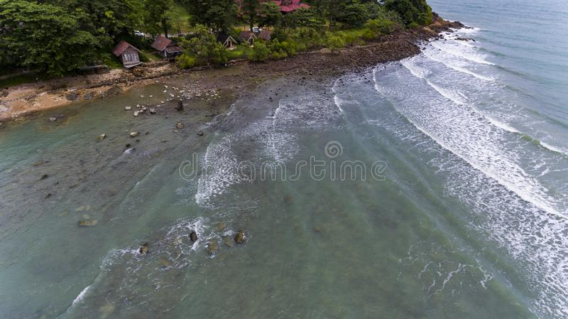 Aerial View of villas on the beach surrounded by trees. Koh Chang, Thailand royalty free stock images