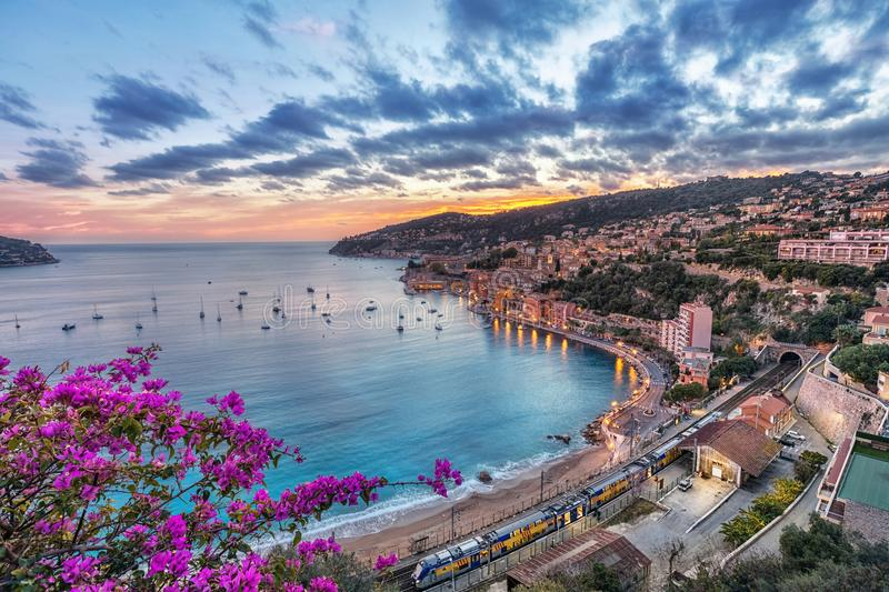 Aerial view of Villefranche-sur-Mer on sunset, France royalty free stock images