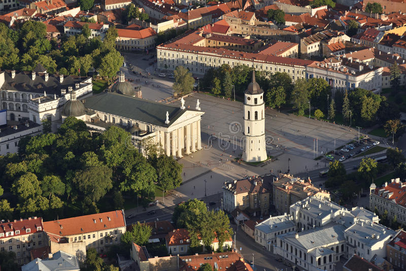 Aerial view of Vilnius Old Town stock photography