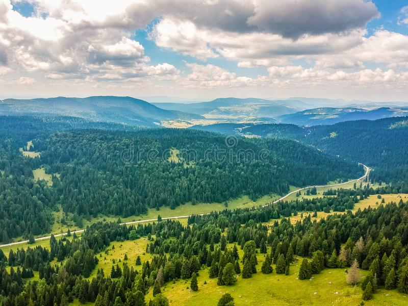 Aerial view on Vlasic mountain in Bosnia and Herzegovina.  royalty free stock image