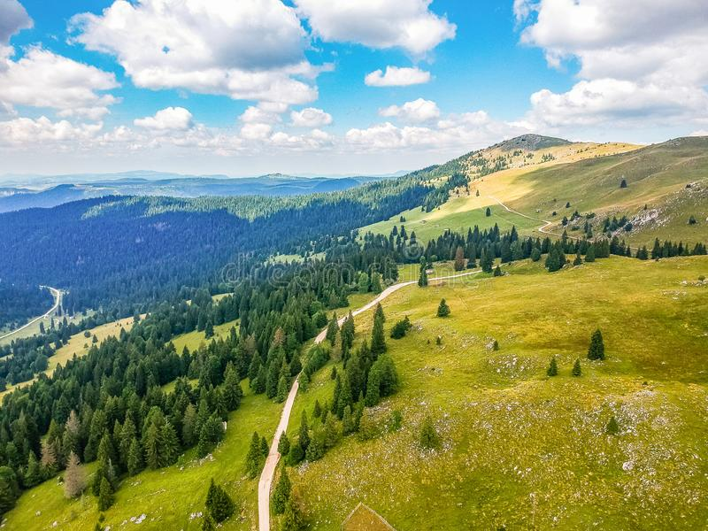 Aerial view on Vlasic mountain in Bosnia and Herzegovina.  stock images
