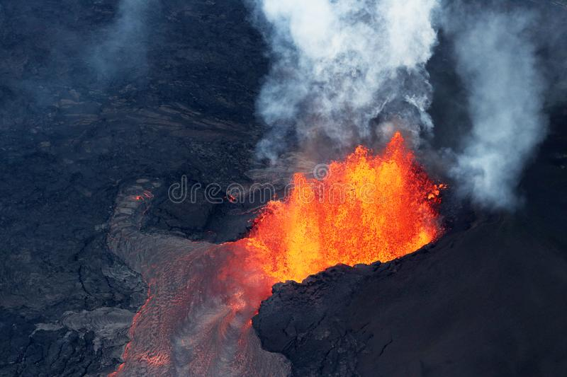 Aerial view of the volcanic eruption of volcano Kilauea. Fissure 8, May 2018 royalty free stock images