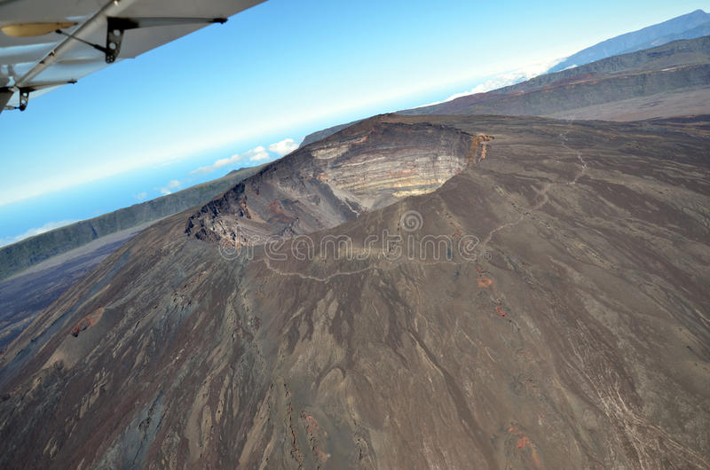 Aerial view volcano stock images