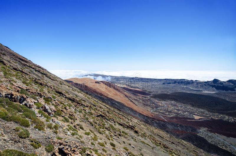 Aerial view of the volcano Teide Las Canadas Caldera. Teide National Park landscape above clouds. Tenerife, Canary Islands, Spain royalty free stock image