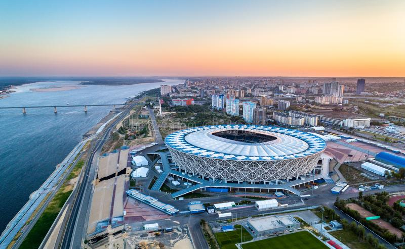 Aerial view of the Volgograd Arena on a bank of the Volga River. Russia stock photos