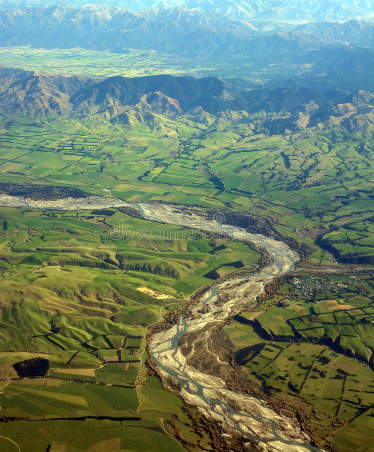 Aerial View of Waiau River, Canterbury, New Zealand royalty free stock image