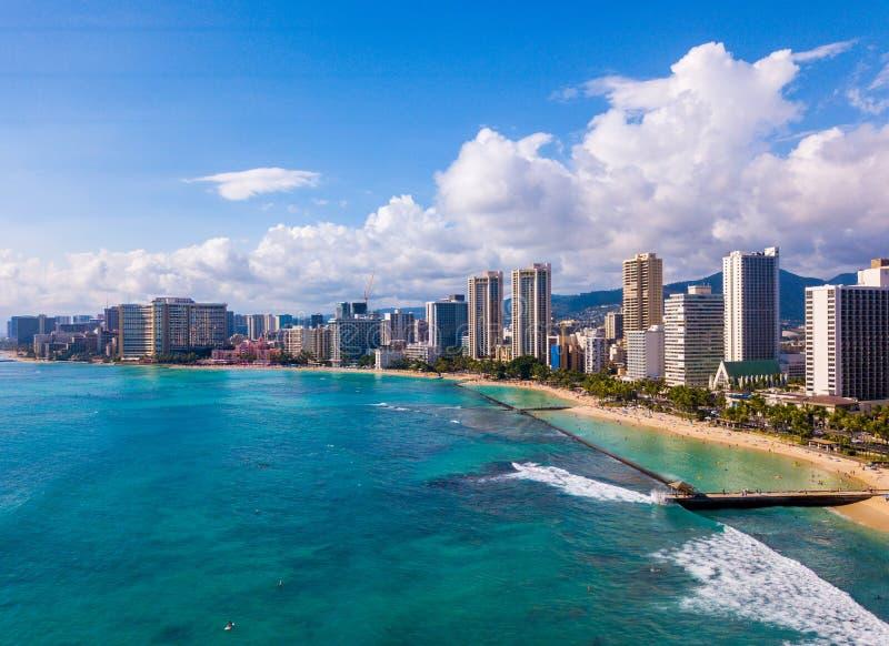 Aerial view of Waikiki Beach and Diamond Head Crater stock photos