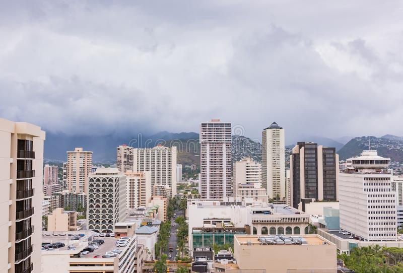 Aerial View of Waikiki Storm Clouds. Honolulu, Hawaii / USA - August 26, 2018: Aerial view of clouds over Waikiki tall buildings as aftermath of Hurricane Lane stock images