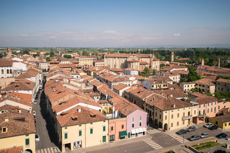 Aerial view of the walled city of Montagnana, Italy. stock photo