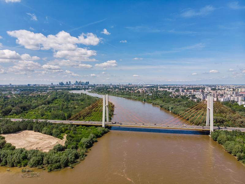 Aerial view of Warsaw, capital of Poland stock photo