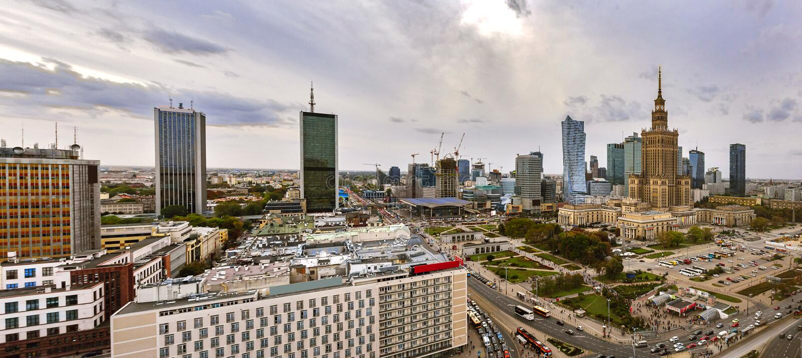 Panorama of Warsaw city center in Poland with Palace of culture and science. royalty free stock photography