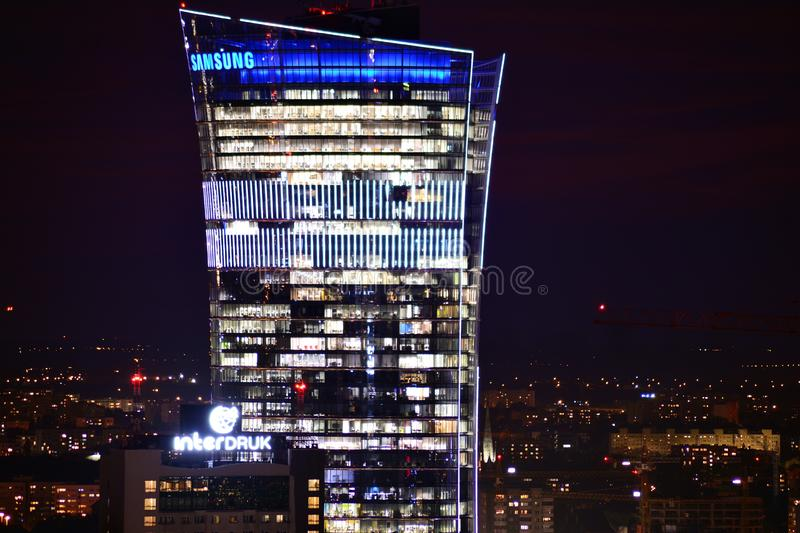 Aerial view of Warsaw. Top of high-rise office building Warsaw Spire. Warsaw, Poland . 17 September 2018. Aerial view of Warsaw. Top of high-rise office stock image