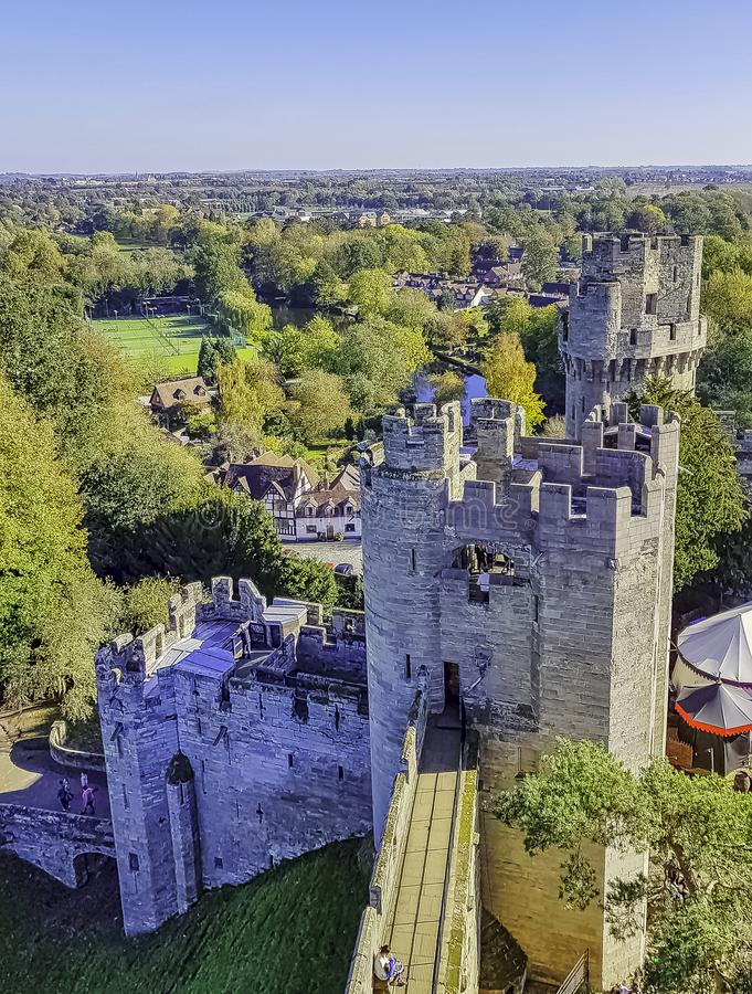 Aerial view of Warwick Castle - Caesar`s Tower in Warwick, Warwickshire, UK. Aerial view of Warwick Castle - Caesar`s Tower in Warwick, Warwickshire, United stock photography