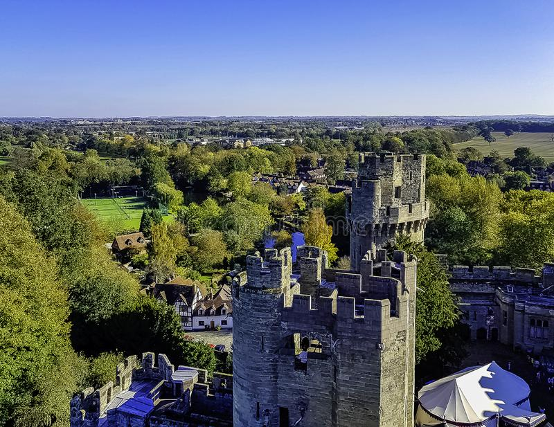Aerial view of Warwick Castle - Caesar`s Tower in Warwick, Warwickshire, UK. Aerial view of Warwick Castle - Caesar`s Tower in Warwick, Warwickshire, United royalty free stock image