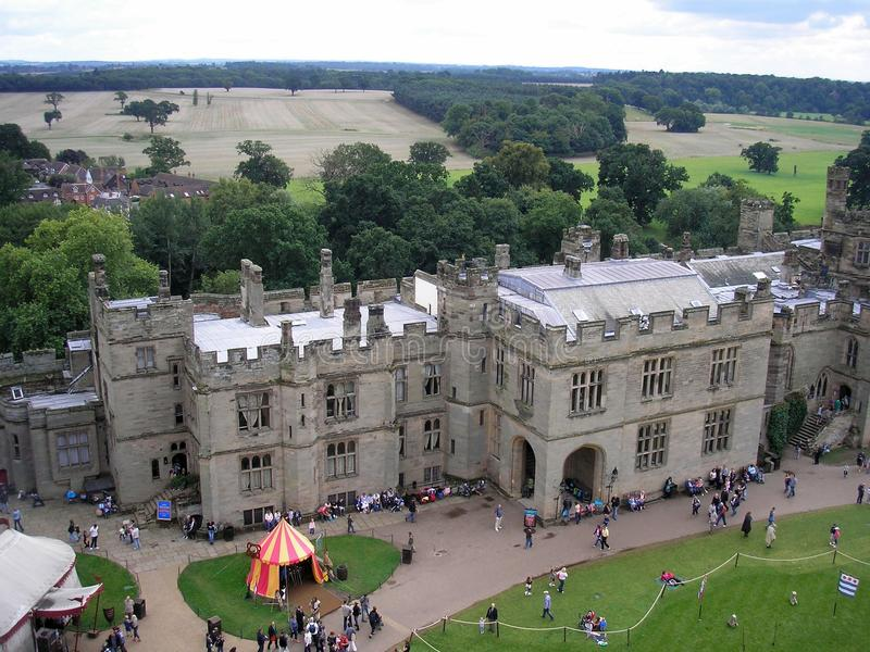 Aerial view of Warwick Castle, Warwickshire, England stock image