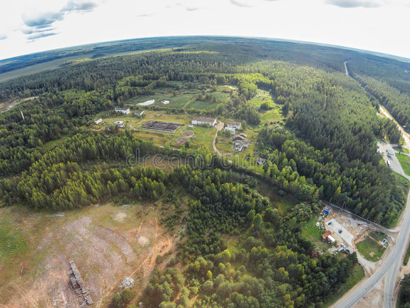 Aerial view of the wastewater treatment plant Maksatikha settlement. Shooting with the bird`s eye view of Maksatikhinskiy district of Tver region royalty free stock image