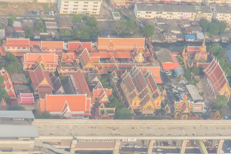 Aerial view of Wat Laksi Temple, Bangkok, Thailand. Nearby Don Muang International Airport stock photo